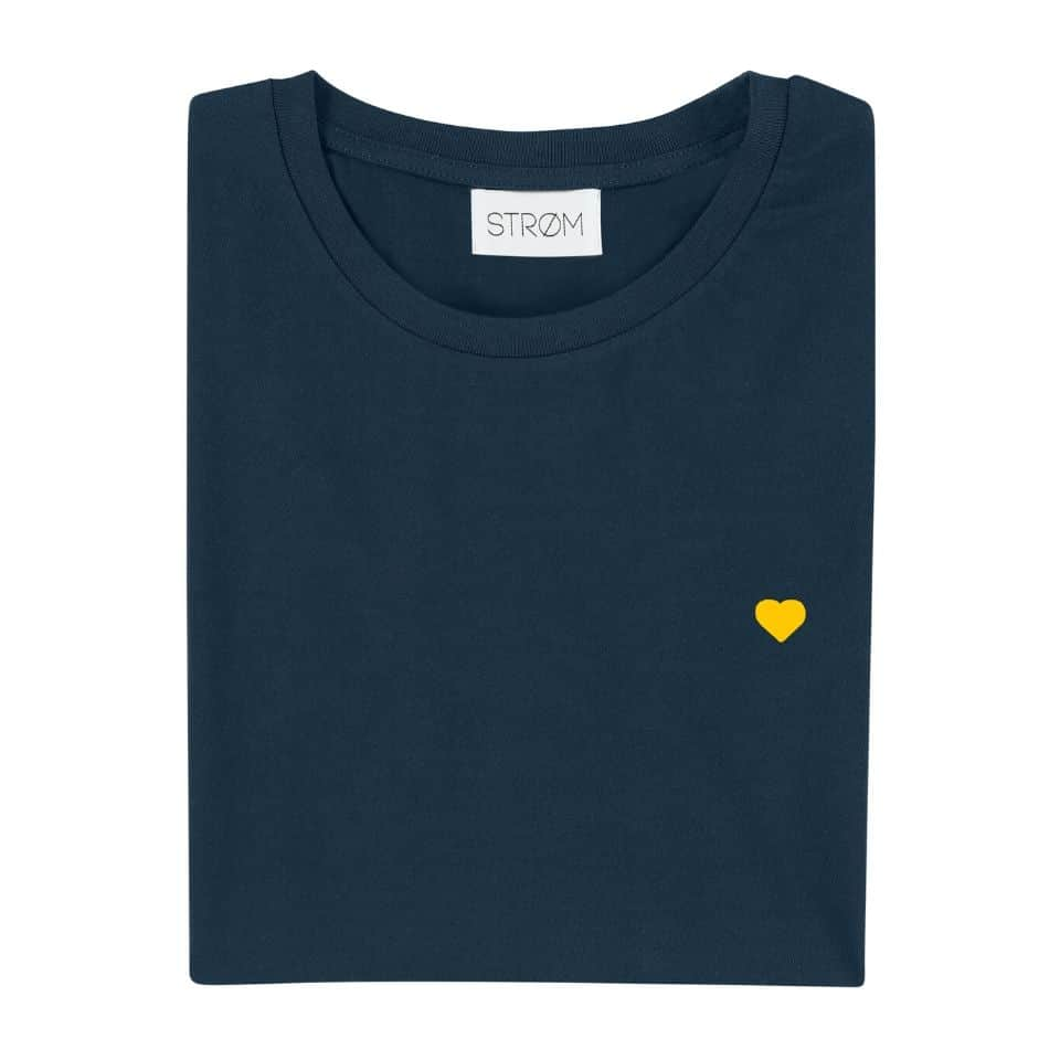 STROM – Navy Blue Yellow heart t-shirt